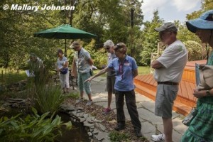 Barb Elliot describes her pond to visitors.  Photo © Mallary Johnson.  Click to enlarge.